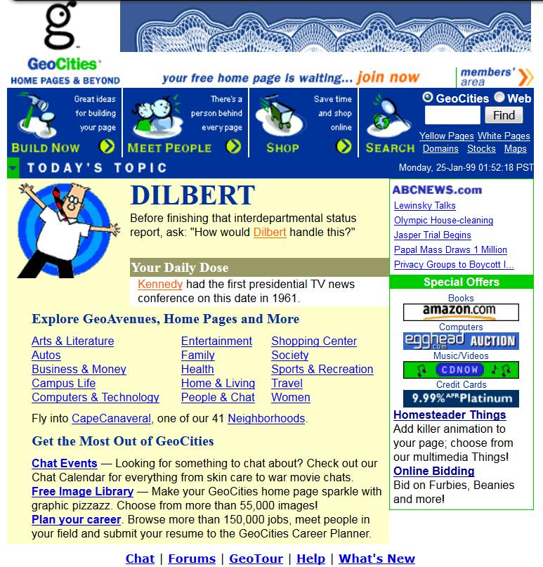 Welcome to GeoCities - Jan 25, 1999